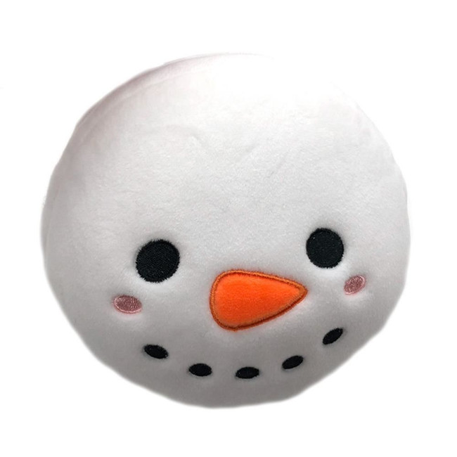 Relaxeazzz Plush Christmas Snowman Round Travel Pillow & Eye Mask