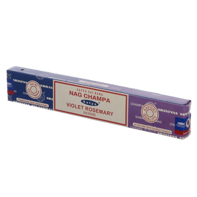 01340 Satya Nag Champa & Violet Rosemary Incense Sticks