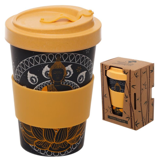 Thai Buddha Reusable Screw Top Bamboo Composite Travel Mug