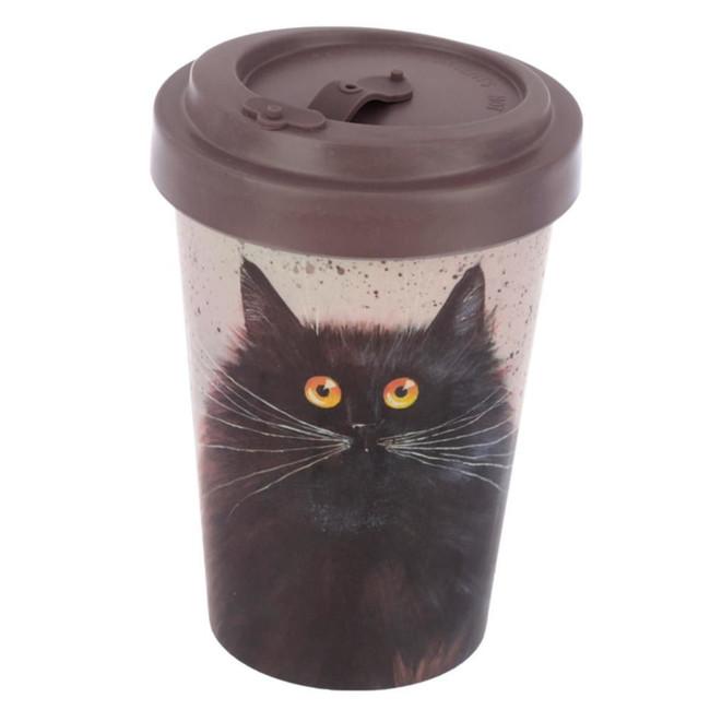 Kim Haskins Cat Screw Top Bamboo Composite Travel Mug