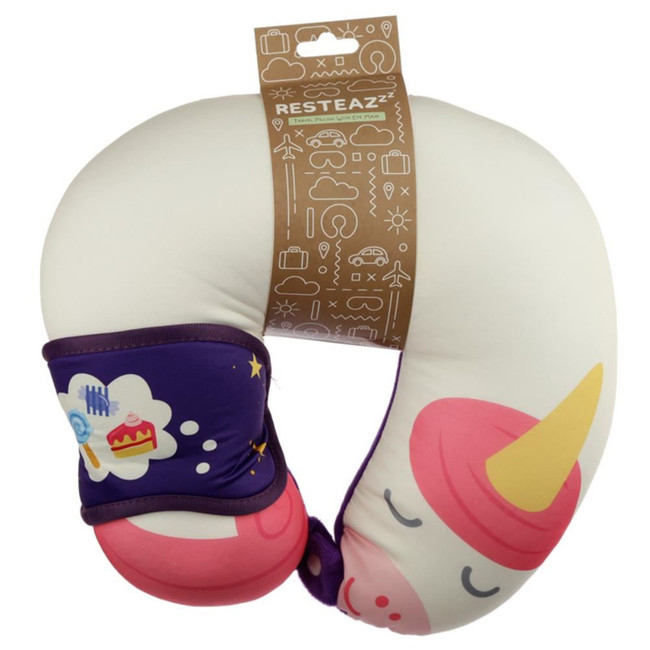 Relaxeazzz Sweet Dreams Unicorn Travel Pillow & Eye Mask Set