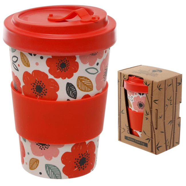 Poppy Fields Reusable Screw Top Bamboo Composite Travel Mug