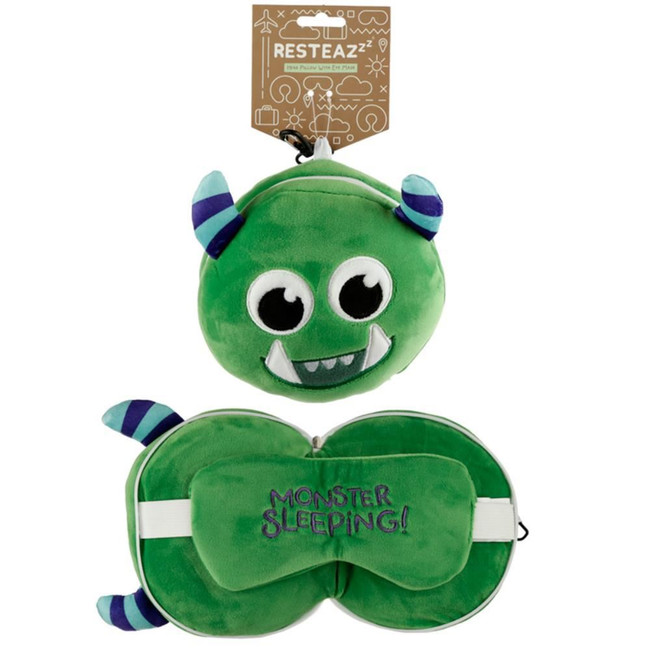 Relaxeazzz Plush Green Monstarz Monster Round Travel Pillow & Eye Mask