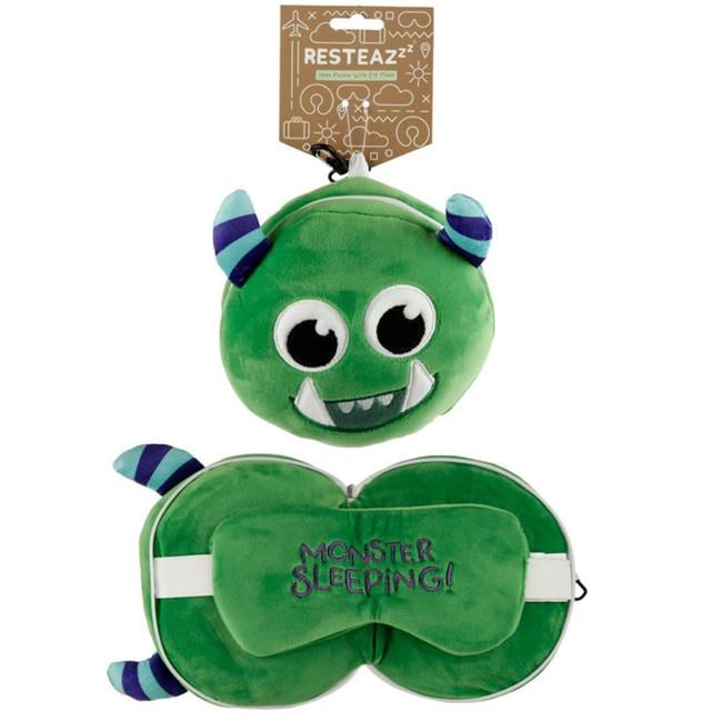 Relaxeazzz Plush Green Monstarz Monster Round Travel Pillow & Eye Mask
