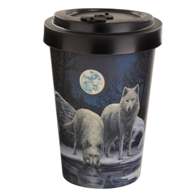 Lisa Parker Warriors of Winter Wolf Reusable Screw Top Bamboo Composite Travel Mug