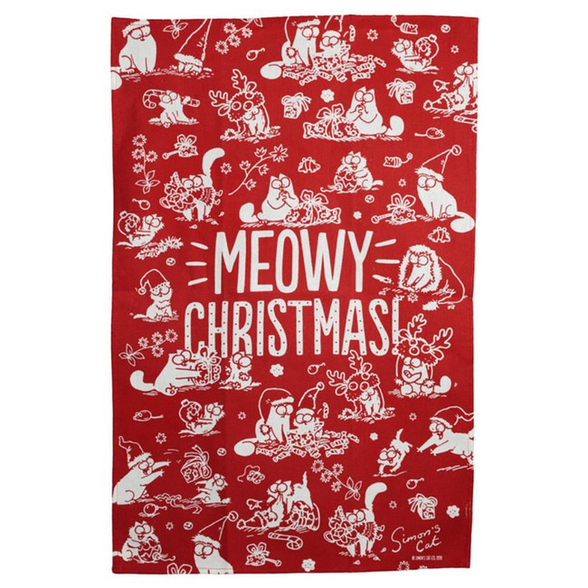 Poly Cotton Tea Towel - Simon's Cat Meowy Christmas