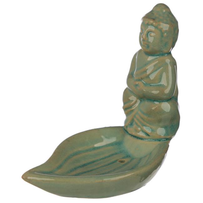 Eden Ceramic Thai Buddha Leaf Shaped Incense Sticks & Cone Dish
