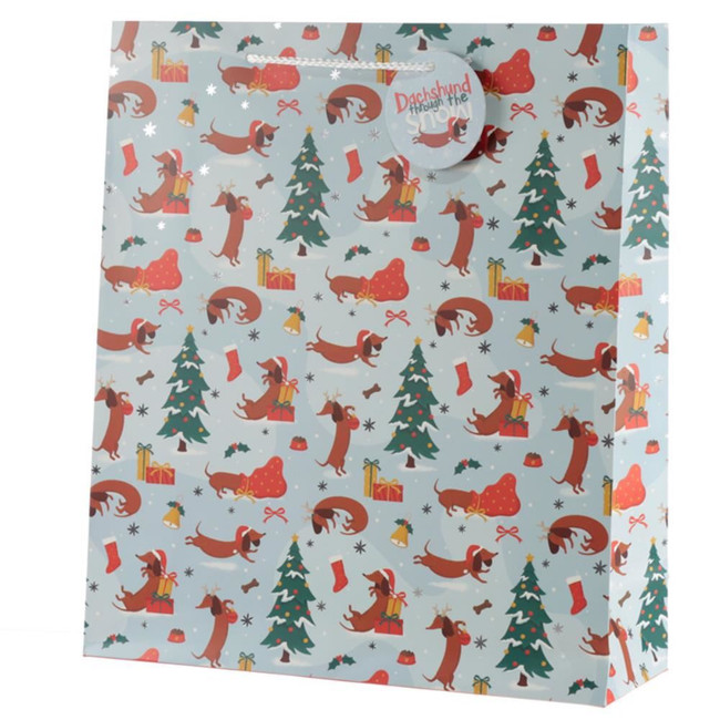 Christmas Dachshund Through The Snow Gift Bag - Extra Large