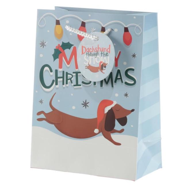 Christmas Dachshund Through The Snow Gift Bag - Medium