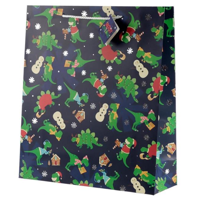 Christmas Dinosaur Gift Bag - Extra Large