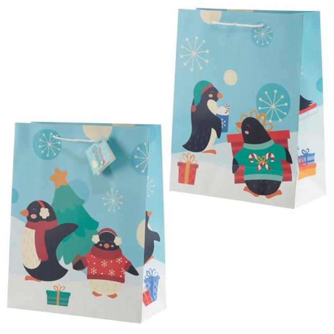 Christmas Penguins Gift Bag - Large