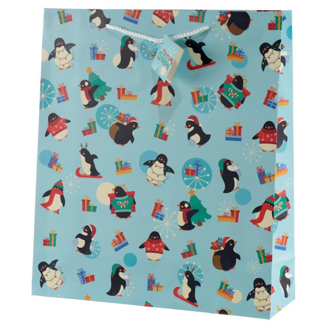 Christmas Penguins Gift Bag - Extra Large