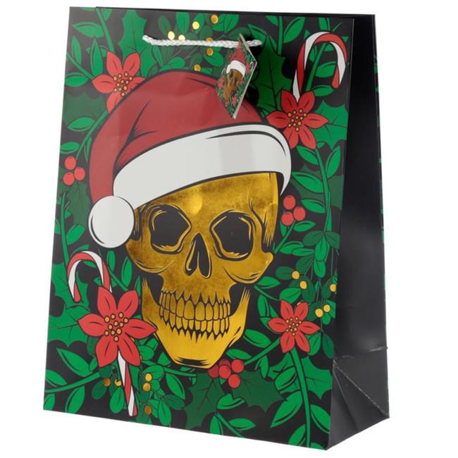 Christmas Skull Metallic Gift Bag - Large