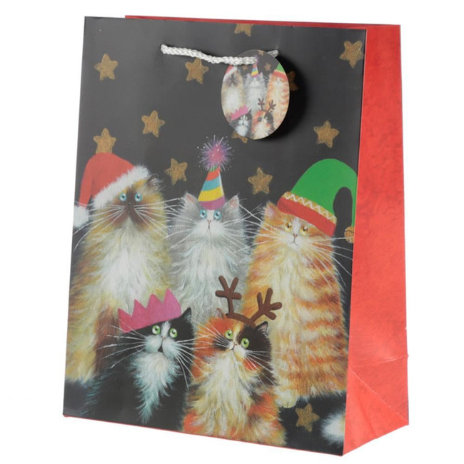Kim Haskins Christmas Cats Gift Bag - Large