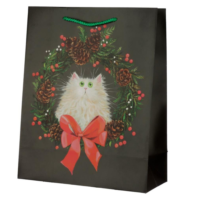 Christmas Kim Haskins Cat Wreath Gift Bag - Large