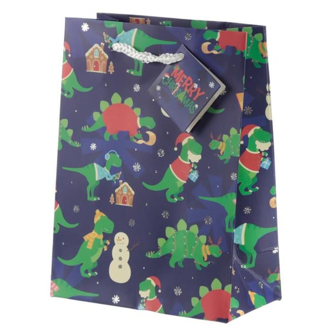Christmas Dinosaur Gift Bag - Medium