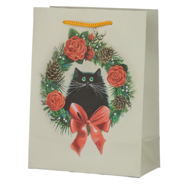 Christmas Kim Haskins Cat Wreath Gift Bag - Medium