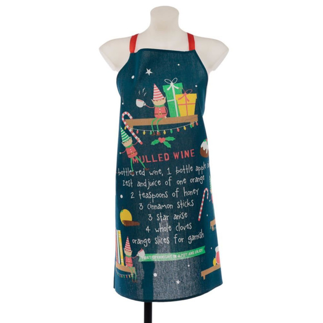 Poly Cotton Apron - Christmas Elf Mulled Wine Recipe