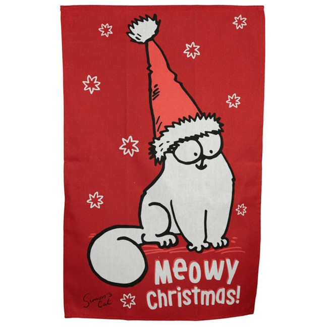 Poly Cotton Tea Towel - Christmas Simon's Cat