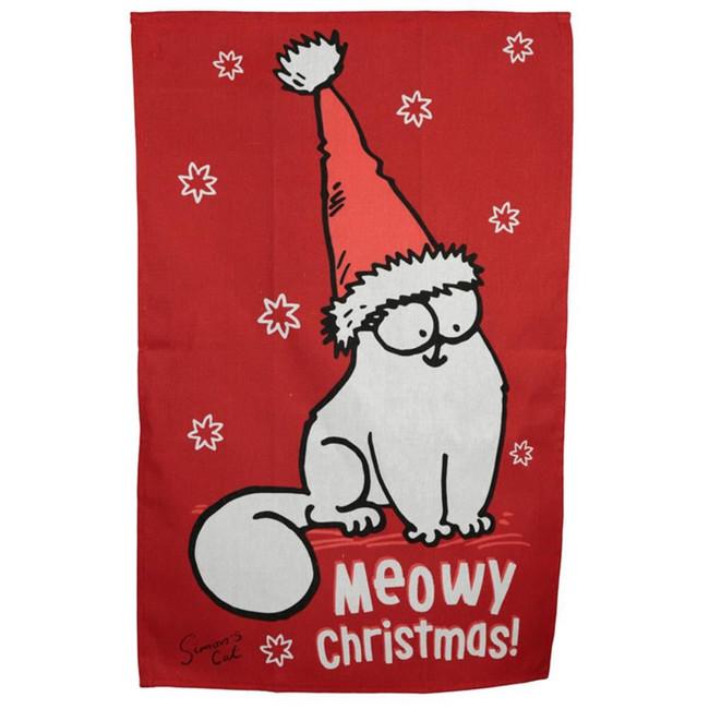 Poly Cotton Tea Towel - Christmas Simon's Cat