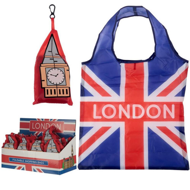 Foldable Reusable Shopping Bag - London Icons Big Ben Union Jack
