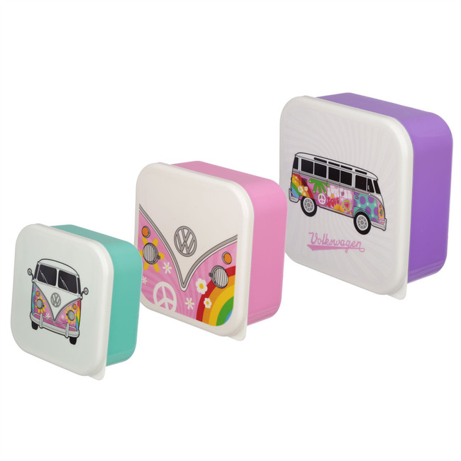 Set of 3 Lunch Boxes - Summer Love Volkswagen VW T1 Camper Bus M/L/XL