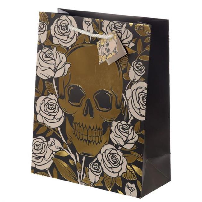 Metallic Skulls and Roses Gift Bag - Large