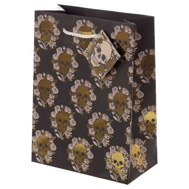 Metallic Skulls and Roses Gift Bag - Medium