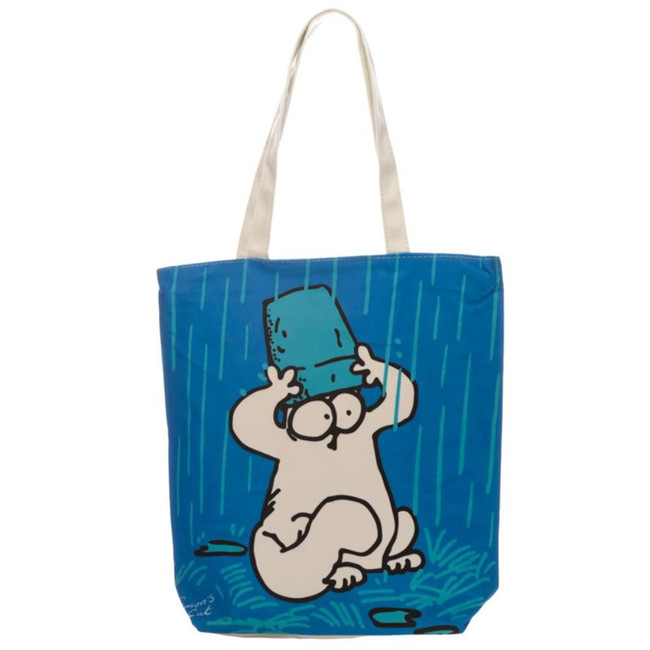New Blue Simon's Cat Cotton Bag with Zip and Lining