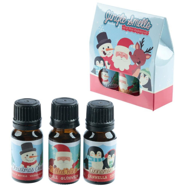 Jingle Smells Eden Set of 3 Christmas Fragrance Oils,Cinamon,Cookie,Mulled Wine