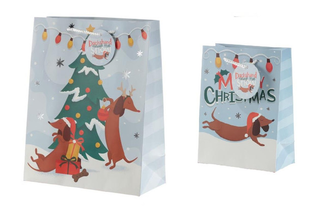 Christmas Dachshund Through the Snow Gift Bags, Set of 2, Large & Medium