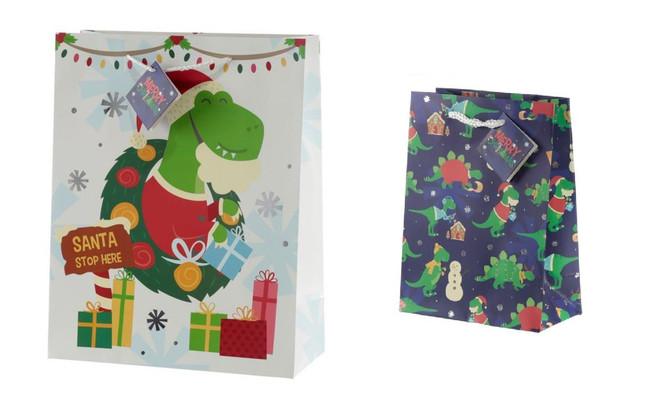 Christmas Dinosaur Gift Bags, Set of 2, Large & Medium
