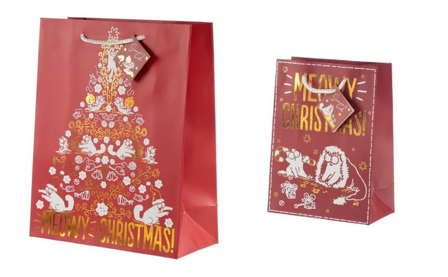 Simon's Cat Meowy Christmas Gift Bags, Set of 2, Large & Medium