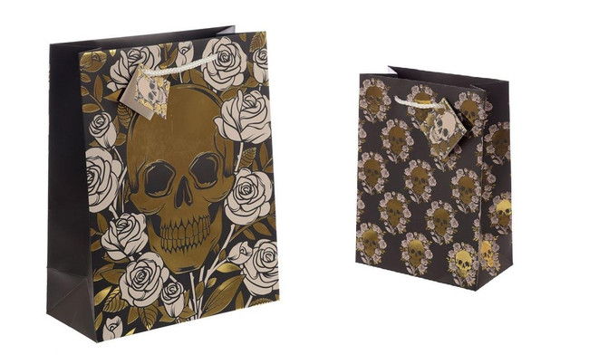 Metallic Skulls and Roses Gift Bags, Set of 2, Large & Medium