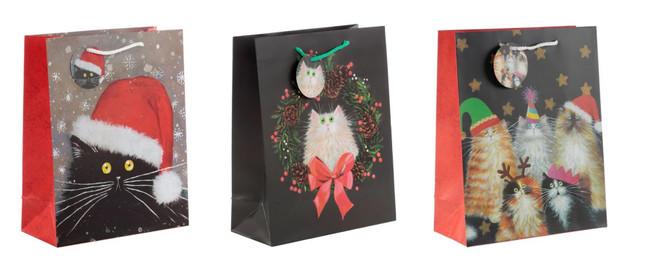 Kim Haskins Christmas Cats, Set of 3 Large Gift Bags
