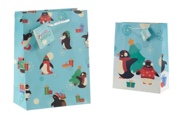 Christmas Penguins Gift Bags, Set of 2, Large & Medium