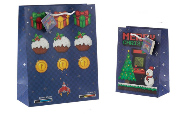 Christmas Game Over Gift Bags, Set of 2, Large & Medium