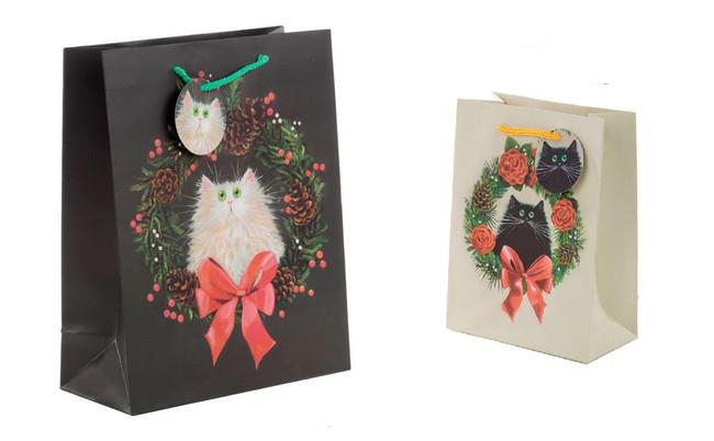 Christmas Kim Haskins Cat Wreath Gift Bags, Set of 2, Large & Medium