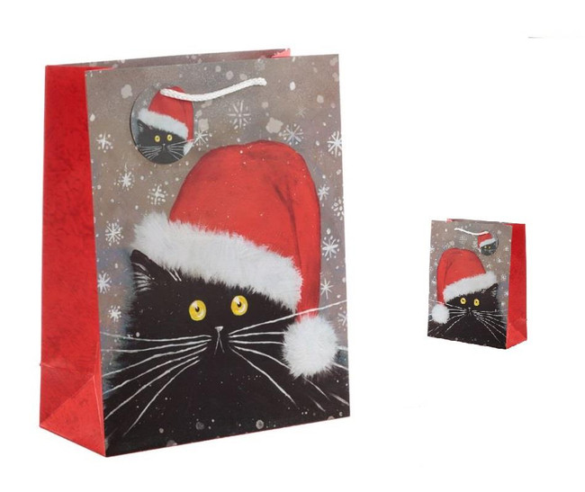 Christmas Kim Haskins Cat Gift Bags, Set of 2 Bags