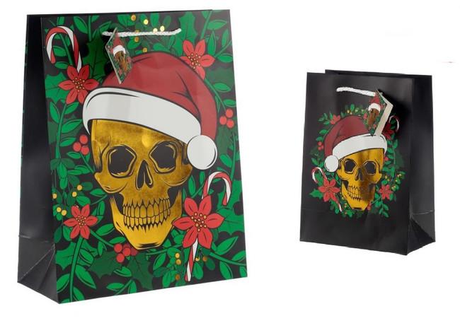 Christmas Skull Metalic Gift Bags, Set of 2, Large & Medium