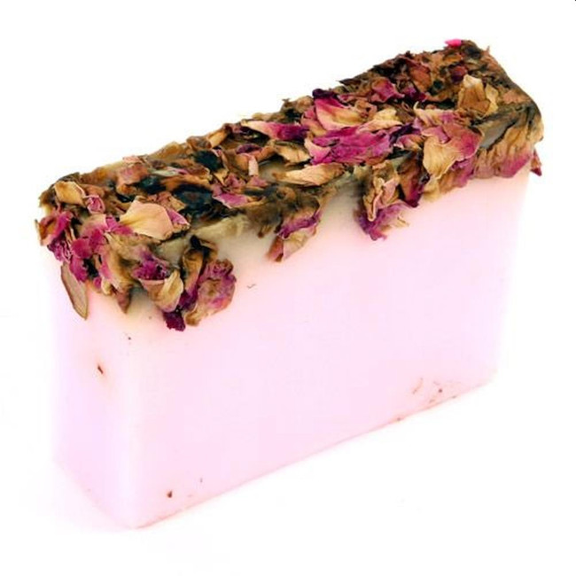Rose and Rose Petals Handmade Soap Slice