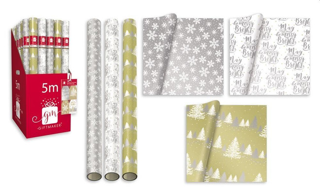 3 Rolls x Christmas Metallic 5m Wrapping Paper, Red/White/Silver, Xmas Gift Wrap