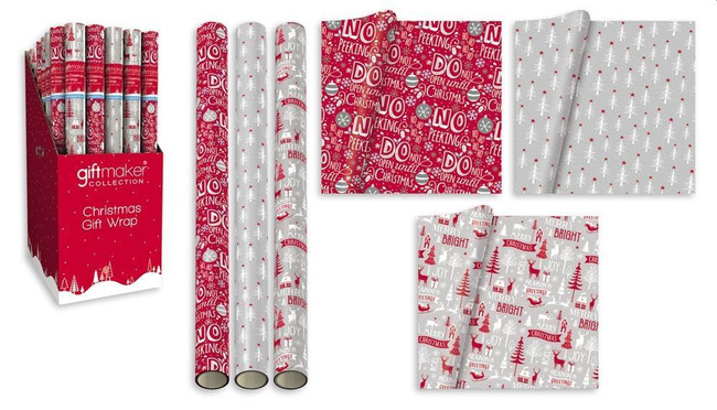 3 Rolls x Christmas Cosy 5m Wrapping Paper, Red/White/Silver, Xmas Gift Wrap