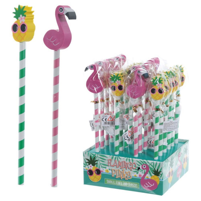 Flamingo and Pineapple Tropical Pencil with Eraser Topper