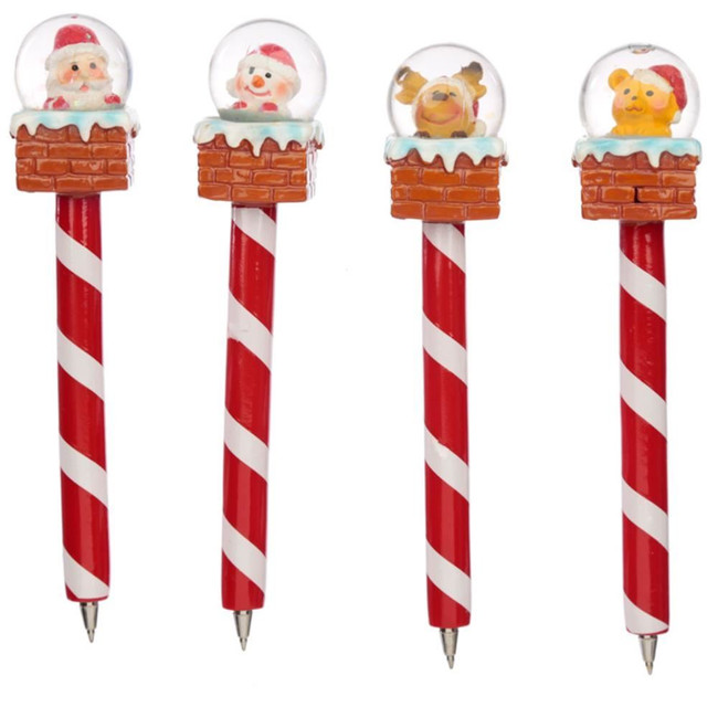 Christmas Chimney Pen with Waterball Snow Globe Topper