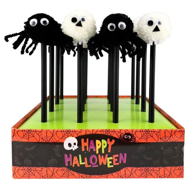 Halloween Skull & Spider Pom Pom Pencil