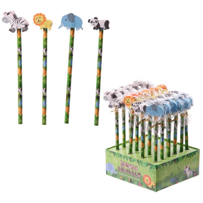 Jungle Animal Pencils - Elephant, Panda, Lion, Zebra