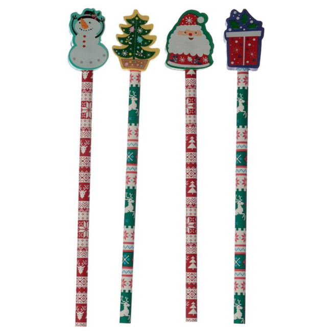 Christmas Pencil with Eraser Topper