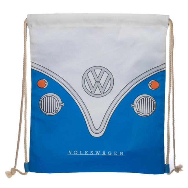 Volkswagen VW T1 Camper Bus Blue Drawstring Bag