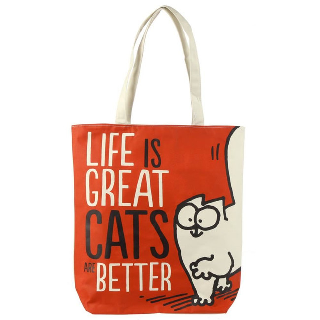 Life is Great Cat's are Better Simon's Cat Cotton Bag